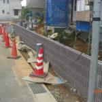 前面道路に面する塀ブロック積み完了