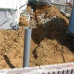 雨水汚水排水桝の設置作業