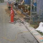 前面道路に面する塀ブロックを積む